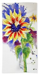 Sunny Sunflower Bath Towel