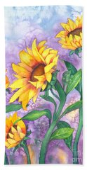 Hand Towel featuring the painting Sunny Sunflowers by Kristen Fox