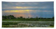 Sunrays On The Wetlands Bath Towel by Tom Claud