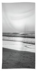 Hand Towel featuring the photograph Sunrise At Beach Black And White  by John McGraw