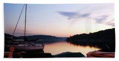Sunrise At The Lake Hand Towel by James Kirkikis