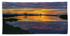 Sunrise At The Merced National Wildlife Refuge Bath Towel