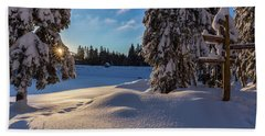 sunrise at the Oderteich, Harz Hand Towel