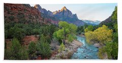 Sunrise At The Watchman - Zion National Park - Utah Bath Towel by Brian Harig