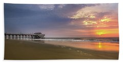 Bath Towel featuring the photograph Sunrise At Tybee Island Pier by James Woody