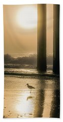 Bath Towel featuring the photograph Sunrise Bird At Beach  by John McGraw