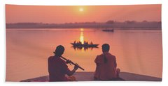 Sunrise By The Ganges Hand Towel