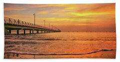 Sunrise Delight On The Beach At Shorncliffe Hand Towel