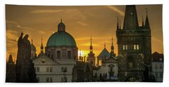 Sunrise From Charles Bridge Hand Towel
