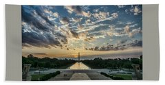 Sunrise From The Steps Of The Lincoln Memorial In Washington, Dc  Bath Towel