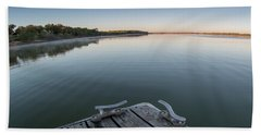 Sunrise On A Clear Morning Over Large Lake With Fog On Top, From Bath Towel