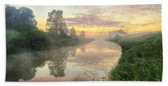 Sunrise On A Misty River Bath Towel