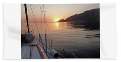 Sunrise On The Aegean Hand Towel by Christin Brodie