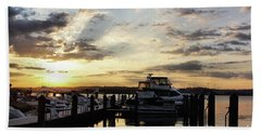 Bath Towel featuring the photograph Sunrise On The Alexandria Waterfront by John S