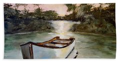 Hand Towel featuring the painting Sunrise On The Shallows by Alan Lakin
