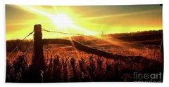 Sunrise On The Wire Hand Towel by J L Zarek