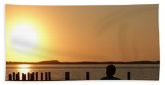 Hand Towel featuring the photograph Sunrise Over Assateaque by Donald C Morgan