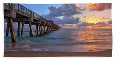 Sunrise Over Juno Beach Pier In Florida Hand Towel