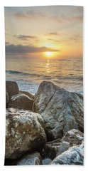 Sunrise Over The Rocks  Hand Towel