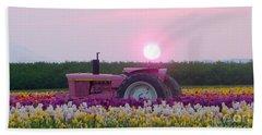 Sunrise Pink Greets John Deere Tractor Hand Towel