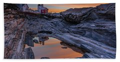 Sunrise Reflections At Pemaquid Point Bath Towel