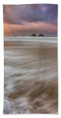 Hand Towel featuring the photograph Sunrise Storm At Twin Rocks by Darren White