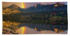 Sunrise Summer Rainbow In Colorado Hand Towel
