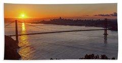 Sunrise Sunlight Hitting The Coastal Rock On The Shore Of The Go Hand Towel