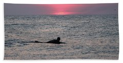 Sunrise Surfing Hand Towel by Robert Banach