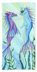 Bath Towel featuring the painting Sunrise Swim - Sea Dragon Mermaid Cat by Carrie Hawks