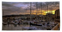 Sunrise Vigo Harbour Galacia Spain Hand Towel