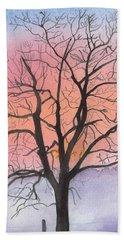 Sunrise Walnut Tree 2 Watercolor Painting Bath Towel