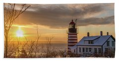 Sunrise West Quoddy Lighthouse Hand Towel by Trace Kittrell