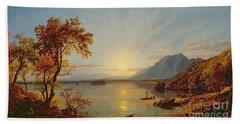 Sunset  Lake George Bath Towel