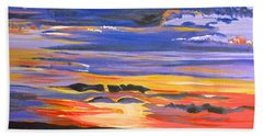 Bath Towel featuring the painting Sunset #5 by Donna Blossom