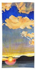 Bath Towel featuring the painting Sunset #6 by Donna Blossom
