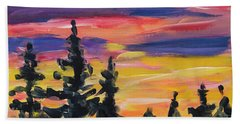 Hand Towel featuring the painting Sunset Alaska by Yulia Kazansky