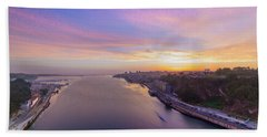 Bath Towel featuring the photograph Sunset And A Small Boat by Bruno Rosa