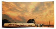 Sunset And A Star Transport Semi Truck Hand Towel by Toni Hopper