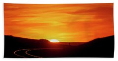 Hand Towel featuring the photograph Sunset And Railroad Tracks by Rob Graham