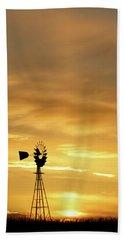 Sunset And Windmill 12 Bath Towel