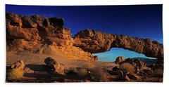 Bath Towel featuring the photograph Sunset Arch Pano by Edgars Erglis
