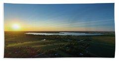 Sunset At Branched Oak Lake Bath Towel