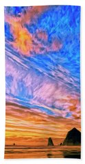 Sunset At Cannon Beach Hand Towel