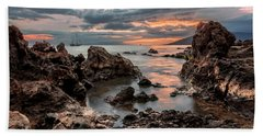 Bath Towel featuring the photograph Sunset At Charley Young Beach by Susan Rissi Tregoning