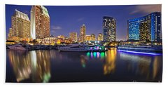 Sunset At Embarcadero Marina Park In San Diego Hand Towel