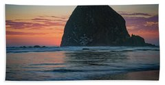 Hand Towel featuring the photograph Sunset At Haystack Rock by Rick Berk