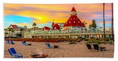 Sunset At Hotel Del Coronado Bath Towel