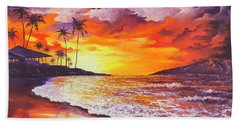 Bath Towel featuring the painting Sunset At Kapalua Bay by Darice Machel McGuire