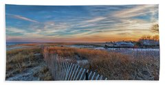 Sunset At Lighthouse Beach In Chatham Massachusetts Hand Towel